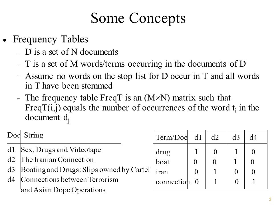Some Concepts Frequency Tables D is a set of N documents