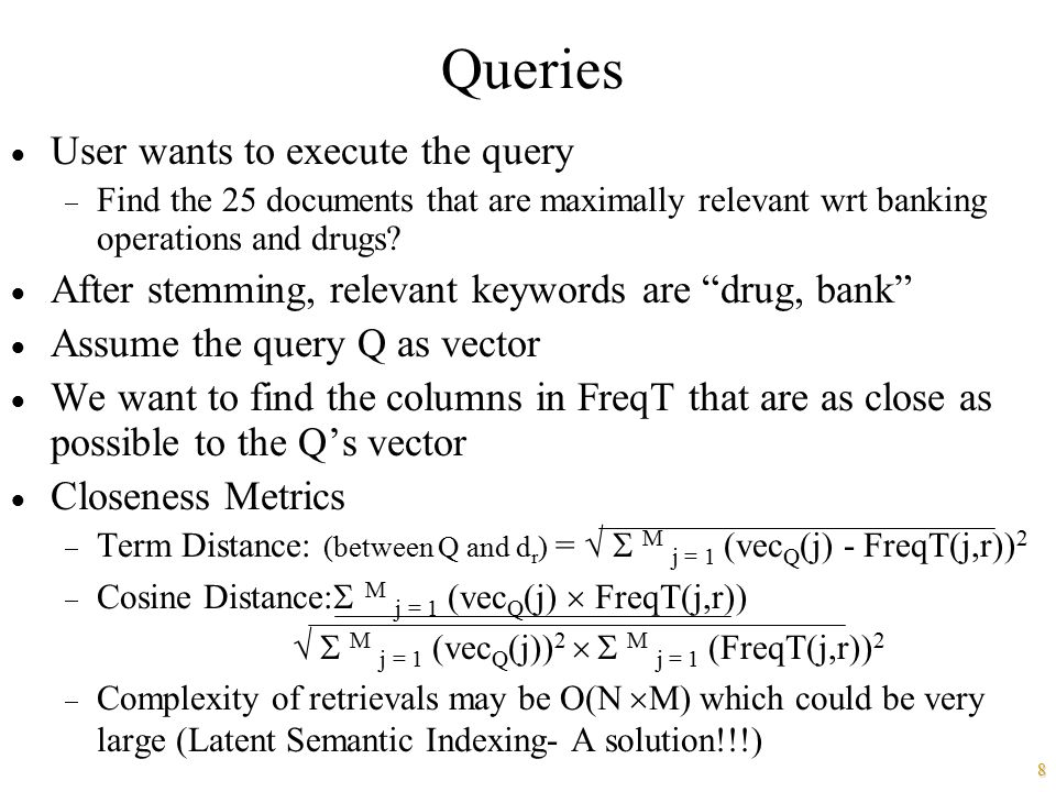 Queries User wants to execute the query