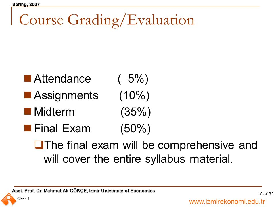 Course Grading/Evaluation