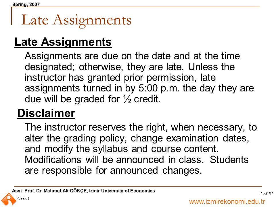 Late Assignments Late Assignments