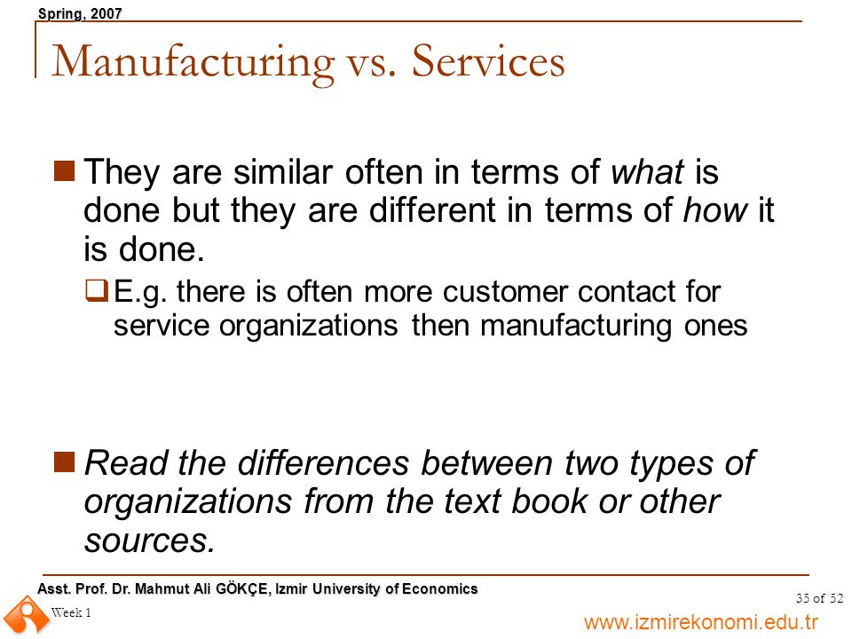 Manufacturing vs. Services