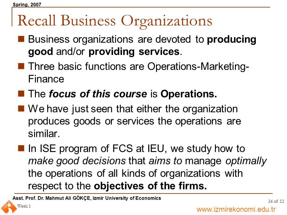 Recall Business Organizations