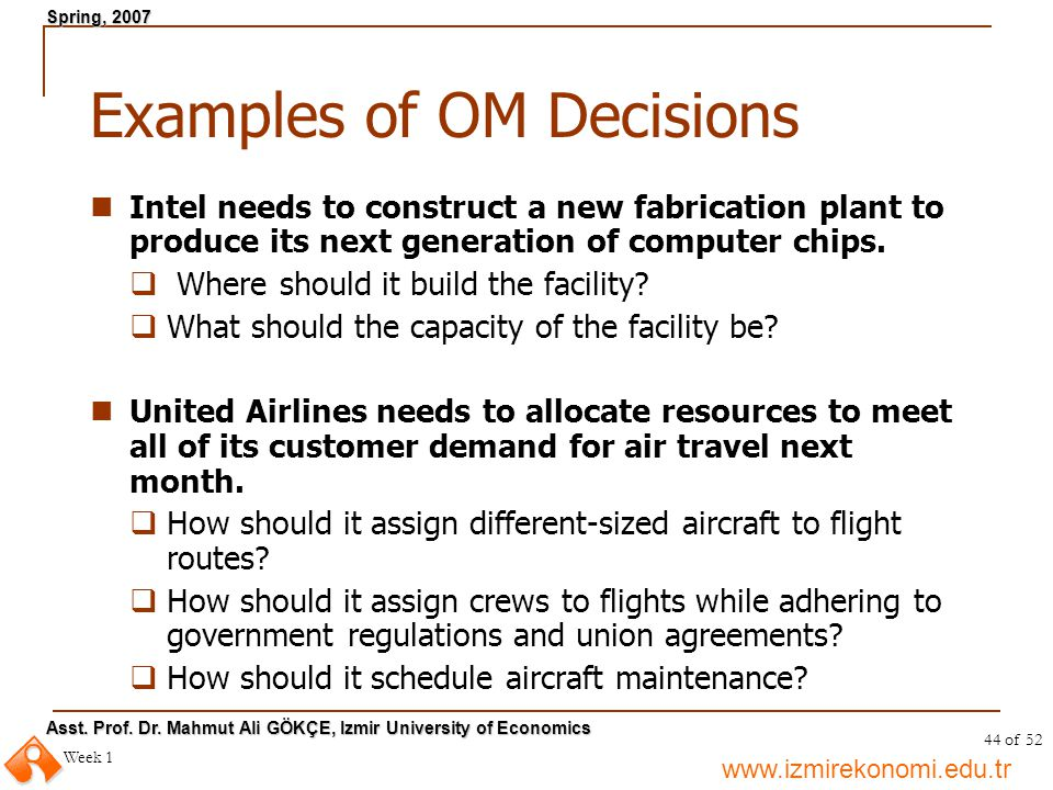 Examples of OM Decisions