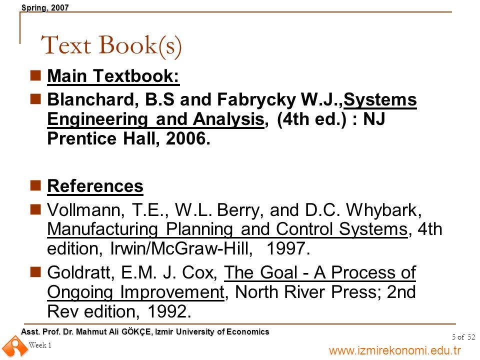 Text Book(s) Main Textbook: