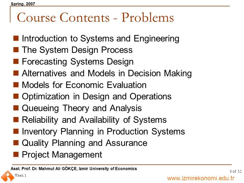 Course Contents - Problems