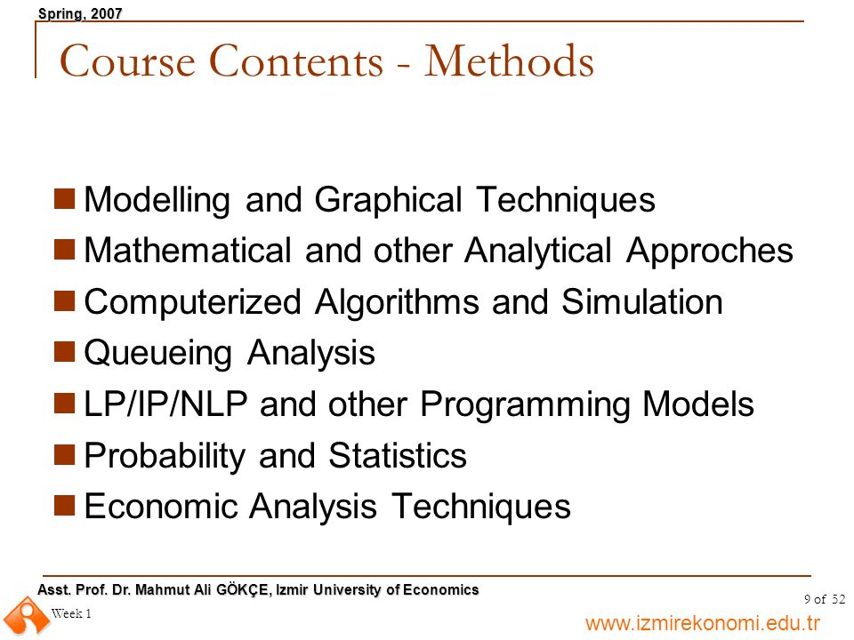 Course Contents - Methods