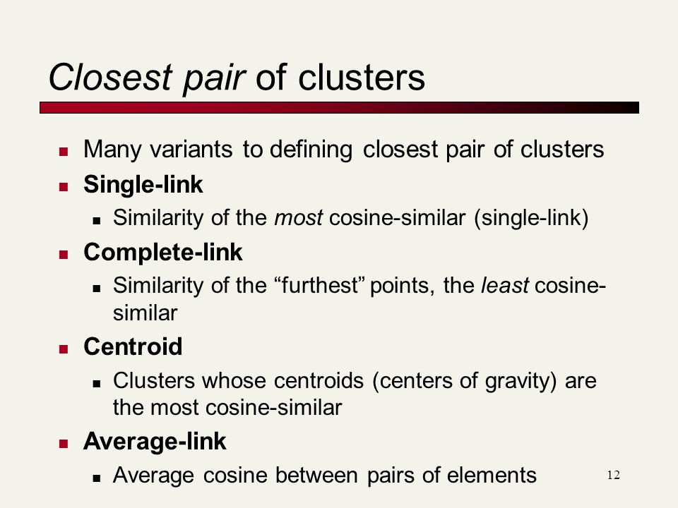 Closest pair of clusters