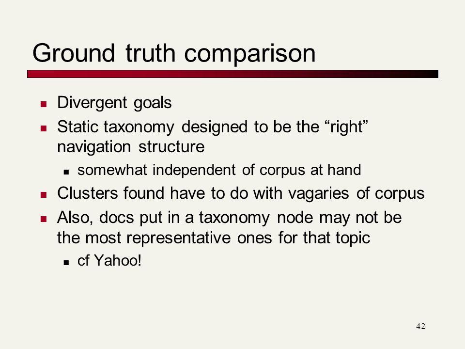 Ground truth comparison