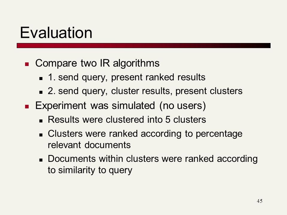 Evaluation Compare two IR algorithms