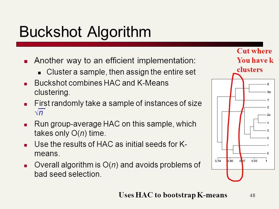 Buckshot Algorithm Another way to an efficient implementation: