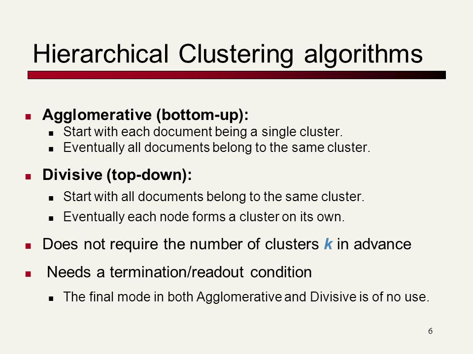 Hierarchical Clustering algorithms