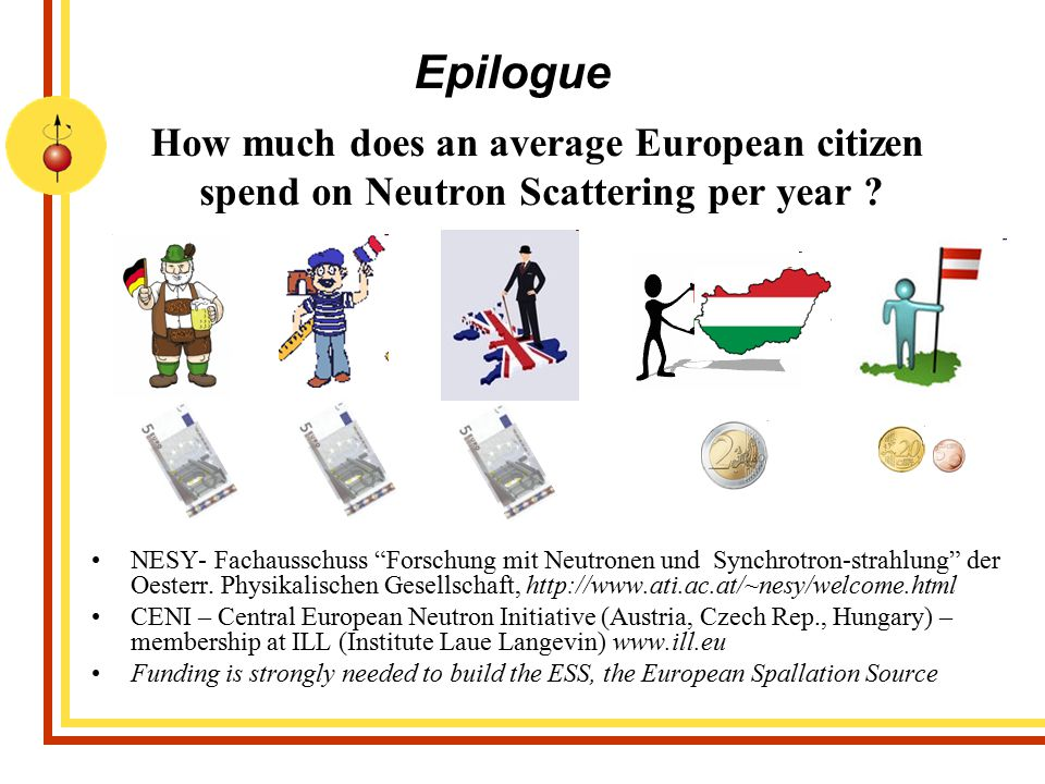 Epilogue How much does an average European citizen spend on Neutron Scattering per year