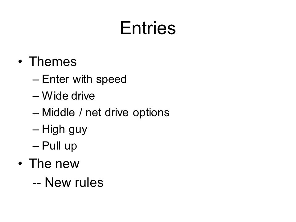 Entries Themes The new -- New rules Enter with speed Wide drive