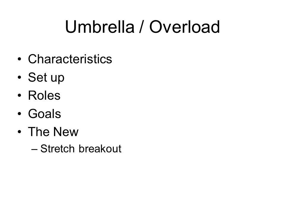 Umbrella / Overload Characteristics Set up Roles Goals The New