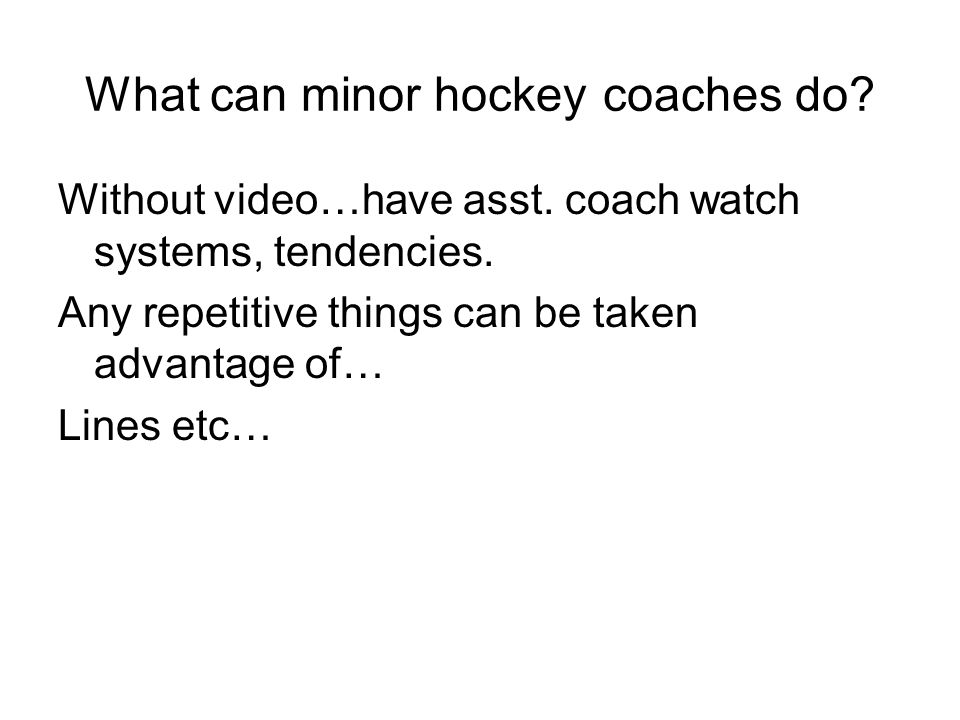 What can minor hockey coaches do