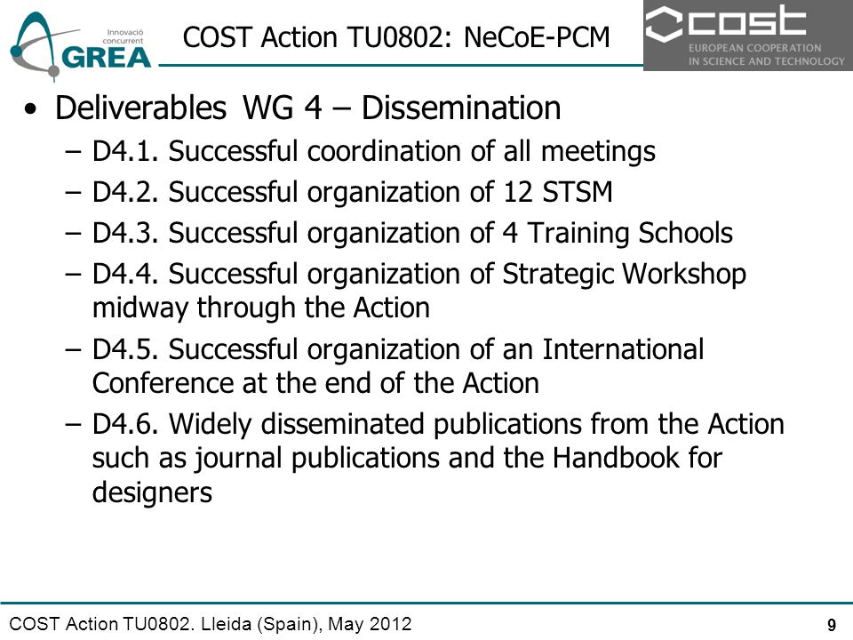 COST Action TU0802: NeCoE-PCM