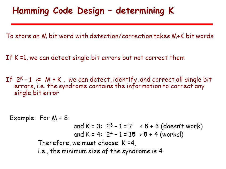 Hamming Code Design – determining K