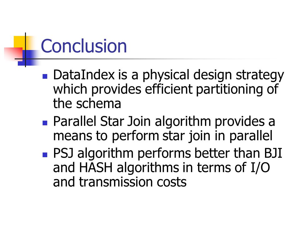 Conclusion DataIndex is a physical design strategy which provides efficient partitioning of the schema.