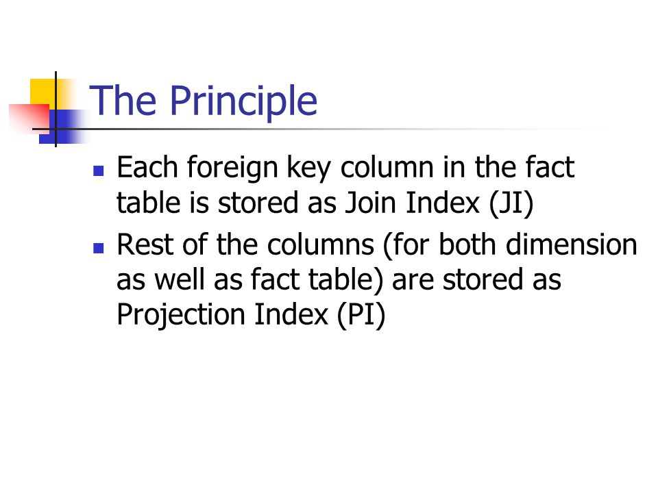 The Principle Each foreign key column in the fact table is stored as Join Index (JI)