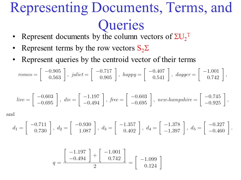 Representing Documents, Terms, and Queries