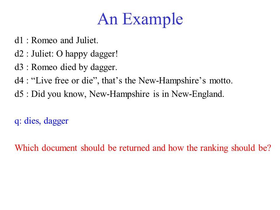 An Example d1 : Romeo and Juliet. d2 : Juliet: O happy dagger!