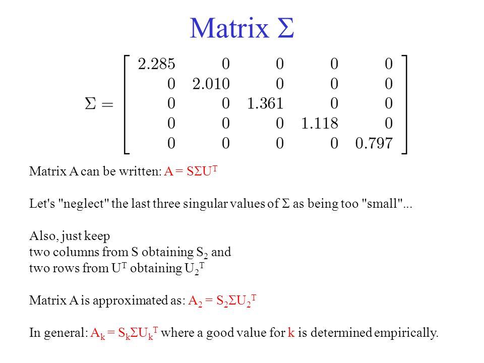 Matrix  Matrix A can be written: A = SUT