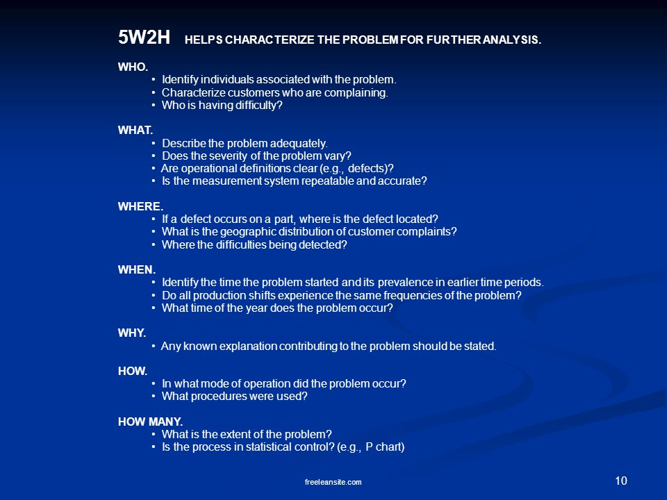 5W2H HELPS CHARACTERIZE THE PROBLEM FOR FURTHER ANALYSIS.