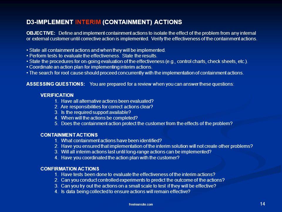 D3-IMPLEMENT INTERIM (CONTAINMENT) ACTIONS