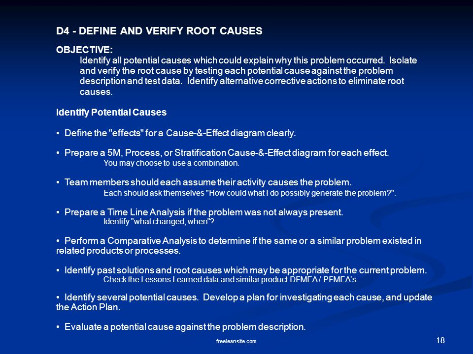 D4 - DEFINE AND VERIFY ROOT CAUSES