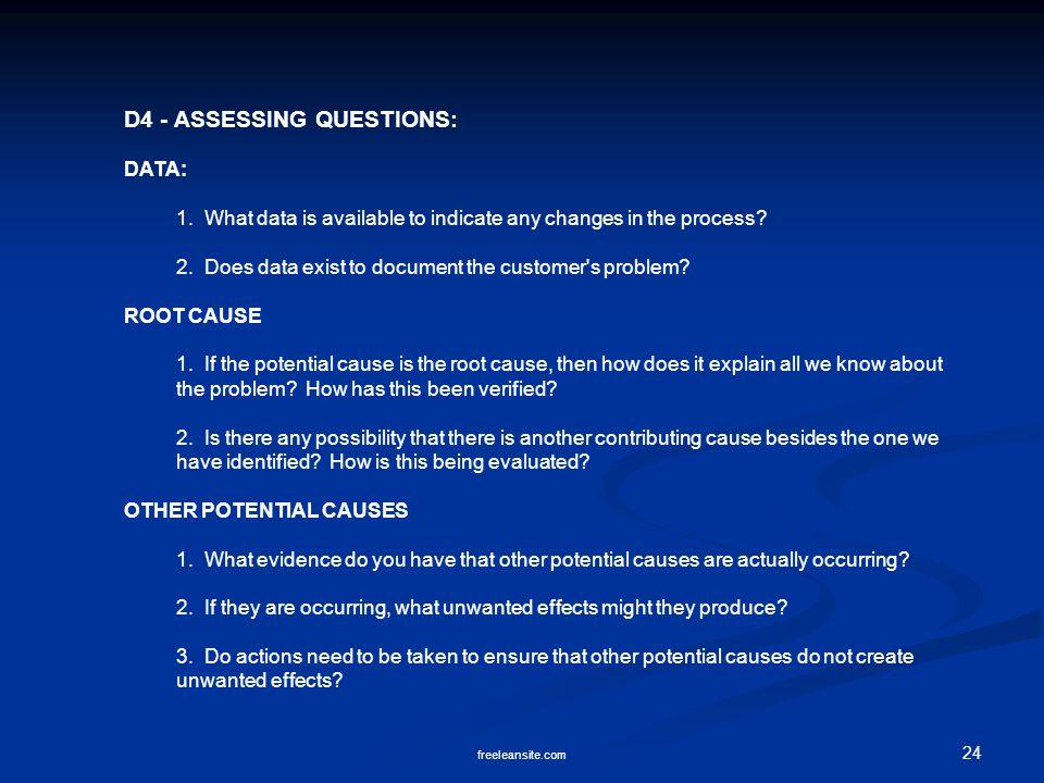 D4 - ASSESSING QUESTIONS: