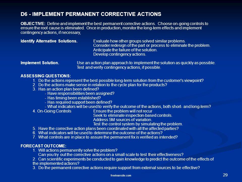 D6 - IMPLEMENT PERMANENT CORRECTIVE ACTIONS