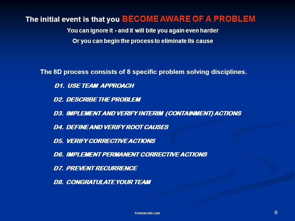 The initial event is that you BECOME AWARE OF A PROBLEM