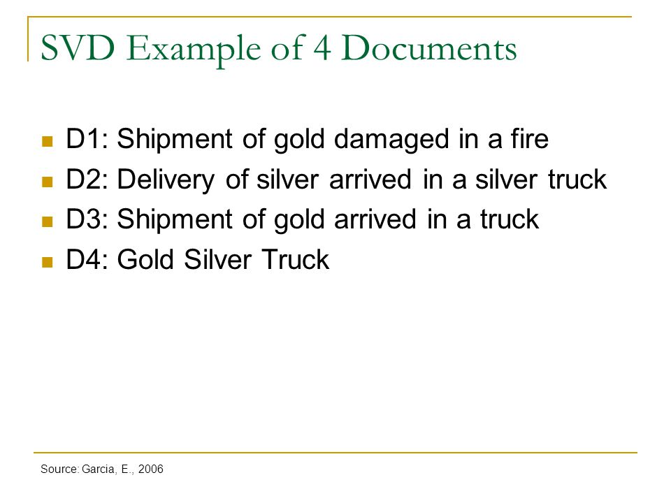 SVD Example of 4 Documents