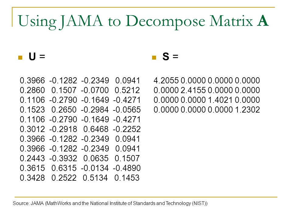 Using JAMA to Decompose Matrix A
