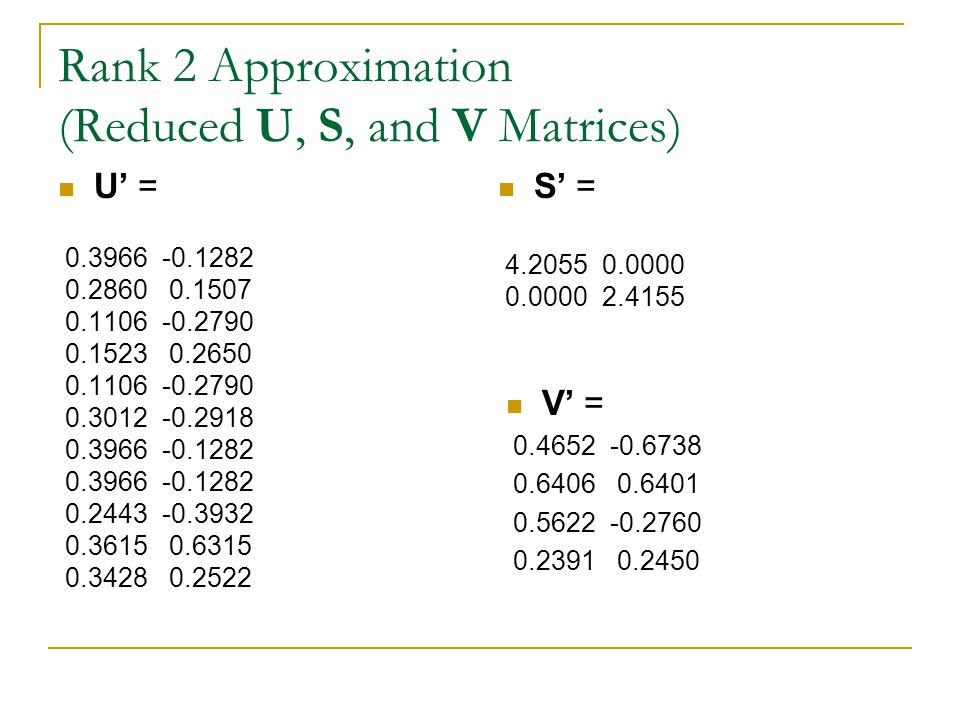 Rank 2 Approximation (Reduced U, S, and V Matrices)