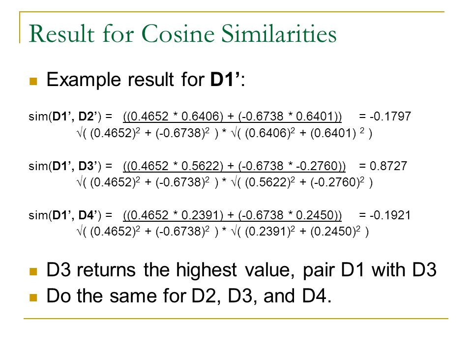 Result for Cosine Similarities