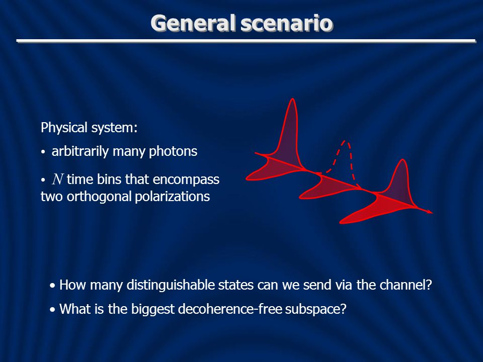 General scenario Physical system: arbitrarily many photons