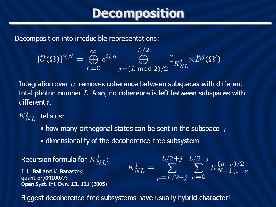 Decomposition Decomposition into irreducible representations: