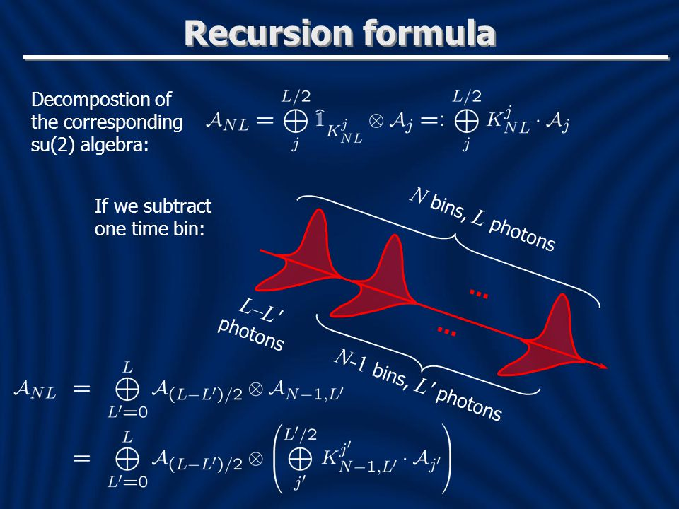 Recursion formula N bins, L photons ... L–L′ photons