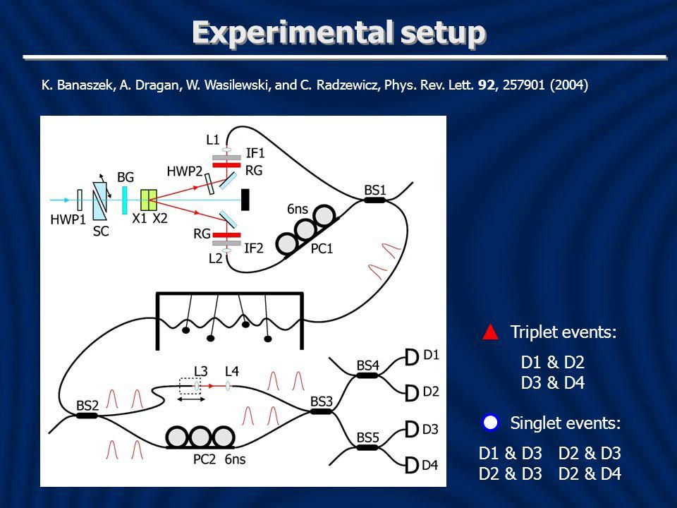Experimental setup Triplet events: D1 & D2 D3 & D4 Singlet events:
