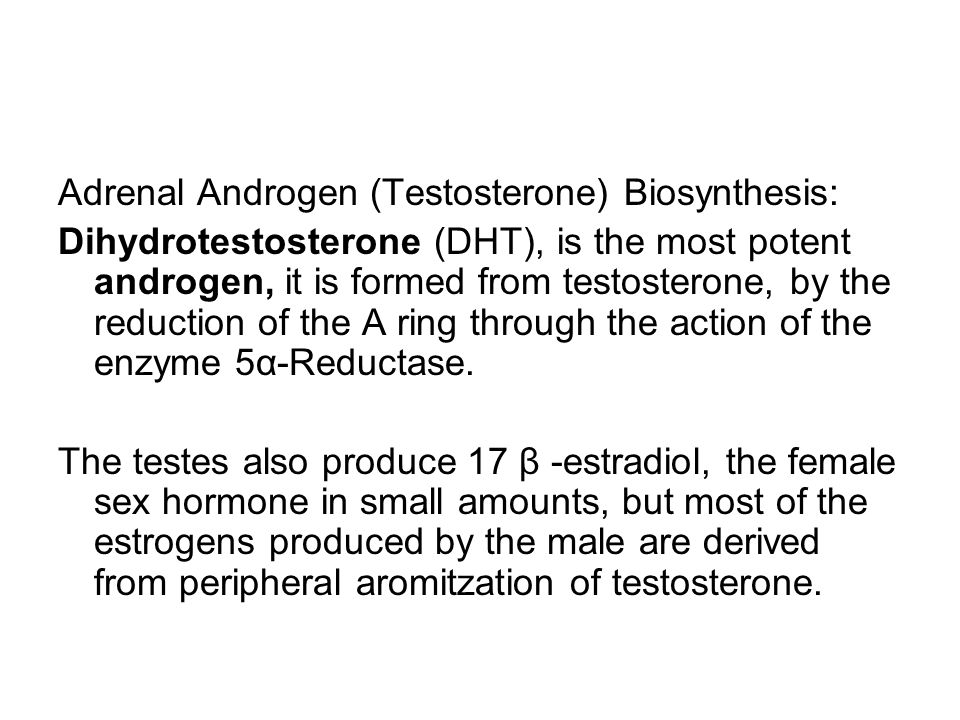 Adrenal Androgen (Testosterone) Biosynthesis: