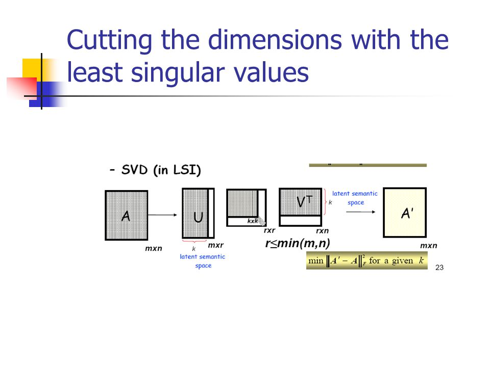 Cutting the dimensions with the least singular values