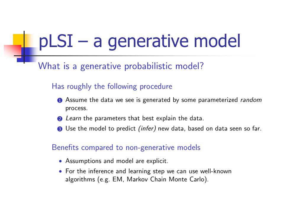 pLSI – a generative model