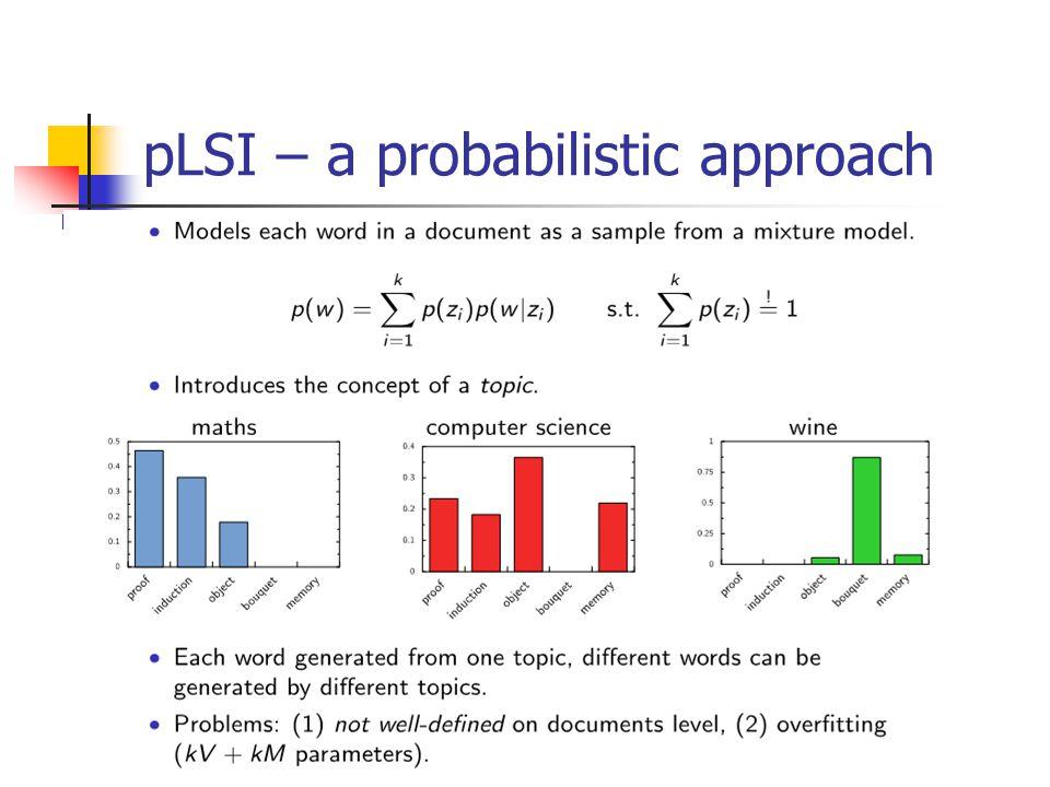 pLSI – a probabilistic approach