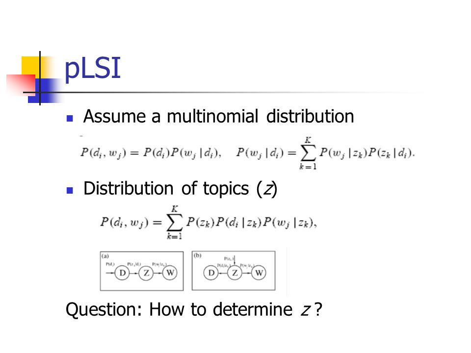 pLSI Assume a multinomial distribution Distribution of topics (z)