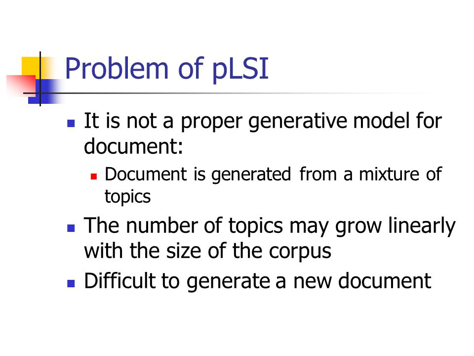 Problem of pLSI It is not a proper generative model for document: