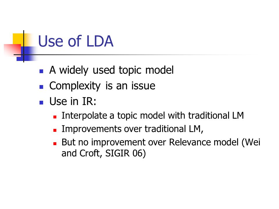 Use of LDA A widely used topic model Complexity is an issue Use in IR: