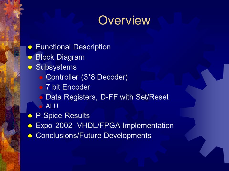 Overview Functional Description Block Diagram Subsystems