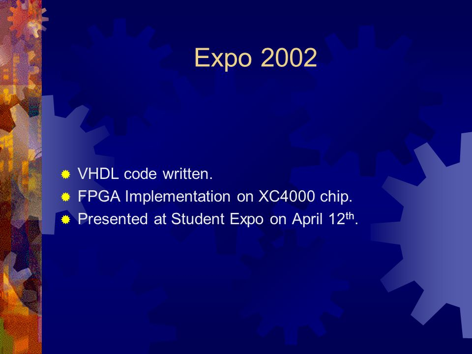 Expo 2002 VHDL code written. FPGA Implementation on XC4000 chip.