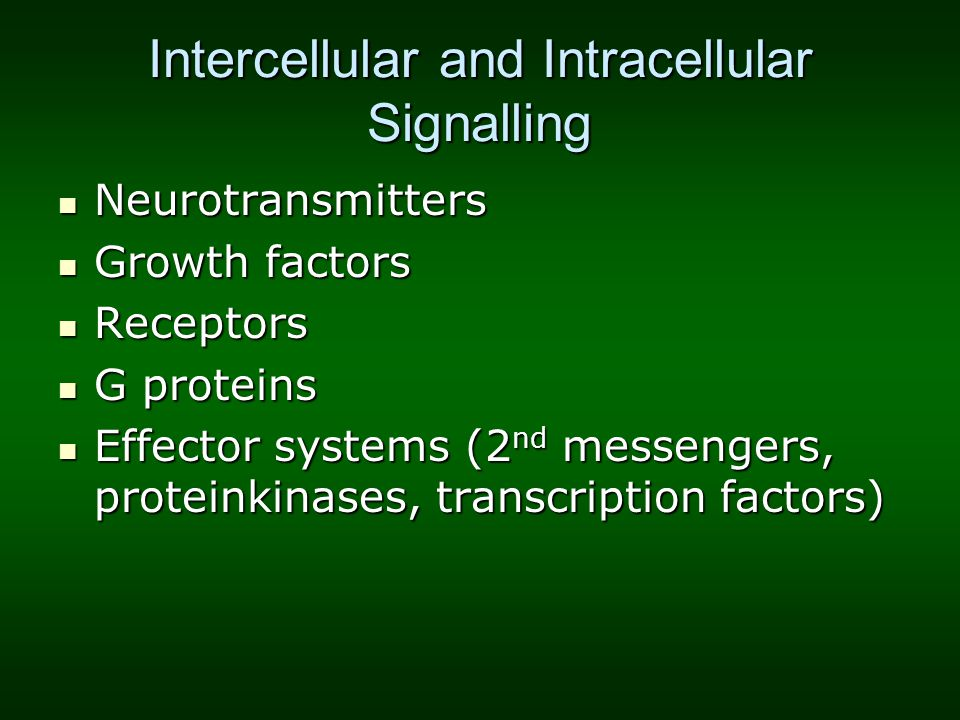 Intercellular and Intracellular Signalling